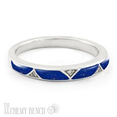Lapis, diamonds and white gold combine to form this extraordinary wedding band. Pair with any engagement ring, or get a matching lapis engagement ring!