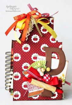 red notebook with initial on it.  spiral with ribbons tied at top.