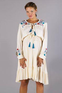 """""""Mockingbird Skater Dress"""" embroidered maternity skater dress - Cream Fillyboo - Boho inspired maternity clothes online, maternity dresses, maternity tops and maternity jeans."""