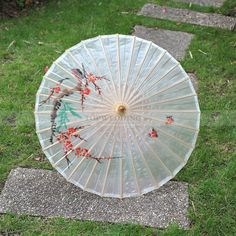 Plum Blossom Painting Adorned Oiled Paper Wedding Umbrella