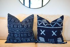 Authentic, African, Indigo, Vintage, Mud Cloth, Textile, Pillow Cover, Linen, backing, Mudcloth, Home Decor,