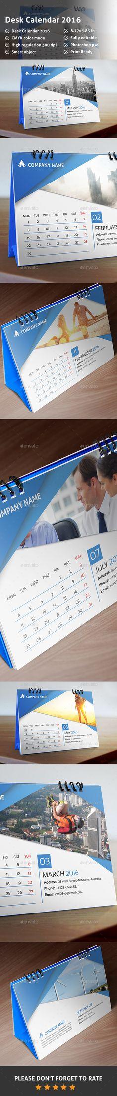 Desk Calendar 2016 Template PSD #design Download: http://graphicriver.net/item/desk-calendar-2016/13710081?ref=ksioks                                                                                                                                                                                 More