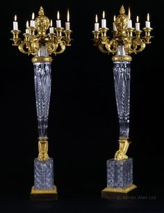 A Remarkable And Highly Important  Pair of Empire Gilt-Bronze And Cut-Crystal Six-Light Candelabra, 1819 France