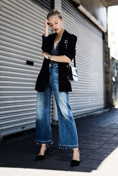 spring outfit, fall outfit, casual outfit, night out outfit, street style, street chic style, fashion trends 2016, fall trends 2016 - black velvet blazer, black wrap top, denim culottes, black pointy toe heels, black shoulder bag