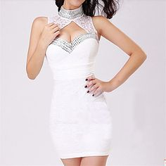 Women's High Neck Bodycon Evening Party Dress – USD $ 24.49