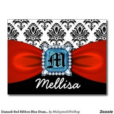Damask Red Ribbon Blue Diamond Monogram And Name Postcard