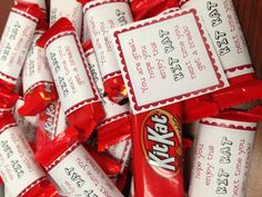Super cute and easy Thank You's! Mini Kit Kat bars with a note.
