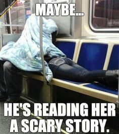 Maybe He's Reading Her A Scary Story...
