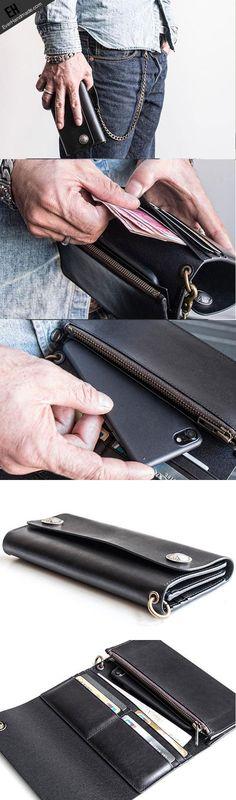 Handmade leather biker trucker wallet leather chain men Black long