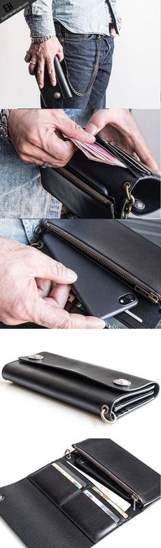 Handmade leather biker trucker wallet leather chain men Black long
