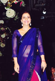 Buy Stunning Half and Half Saree with Sequins Border. Blue and Red Saree is Beautiful Saree for Party worn by Kajol. Indian Actress Hot Pics, South Indian Actress Hot, Bollywood Actress Hot Photos, Indian Bollywood Actress, Bollywood Girls, Beautiful Bollywood Actress, Bollywood Fashion, Indian Actresses, Bollywood Heroine