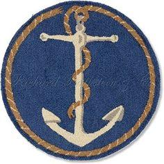 "Amazon.com: Handmade 100% Wool Decorative Coastal Blue and White Ship's Anchor Nantucket Cape Cod Style Maritime Decorative Nautical Beach House Shore Hooked Rug. 31"" round. (Diameter across): Kitchen & Dining"