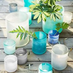 Waterscape Hurricanes | Salt- blasted Glass| Love the look of sea glass for summer| west elm