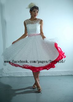 Ready to ship- Size 4 Retro POLKA DOTS wedding dress features with illusion neckline on Etsy, $105.00