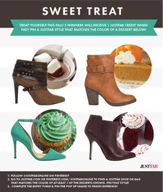 Pin to Win! For a chance to be 1 of 5 winners to get a JustFab style, pin a JustFab item from our Fall Inspiration board that matches the color of at least 1 of the desserts shown. Details: https://www.facebook.com/justfab/app_377634229033123?ref=ts