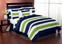Navy Blue and Gray Stripe Teen Full / Queen Bedding Set The Navy and Gray Stripe Full/Queen bedding collection by Sweet Jojo Designs will add instant zest to your bedroom. This bold designer bedding set boasts a large navy, gray, and white stripe print. Teen Bedding Sets, Queen Size Comforter Sets, Twin Comforter, Striped Bedding, Green Bedding, Navy Bedding, Navy Quilt, Dorm Bedding, Luxury Bedding