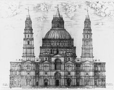 An engraved picture showing an immensely complex design for the facade, with two ornate towers and a multitude of windows, pilasters and pediments, above which the dome rises looking like a three-tiered wedding cake. Renaissance Architecture, Architecture Old, Architecture Drawings, Historical Architecture, Amazing Architecture, Granada, St Peters Cathedral, Front Elevation Designs, Book Design Inspiration