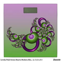 Shop Lovely Pink Green Hearts Modern Abstract Fractal Bathroom Scale created by GabiwArt. Fractal Art, Fractals, Bathroom Scales, Pink And Green, Purple, Good Mood, Hearts, Shapes, Graphic Design