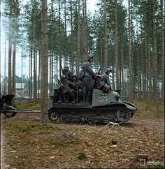 Finnish troops riding on a captured Soviet T-20 Komsomolets artillery tractor.  The T-20 Komsomolets armored tractors were designed in 1936 at the Factory No. 37 in Moscow, Russia. They were powered by a GAZ-M 50hp engine and armed with one 7.62mm machine gun. During WW2, they were used to tow 45-millimeter anti-tank guns and 120-millimeter heavy mortars. They remained in production until 1941. Pin by Paolo Marzioli