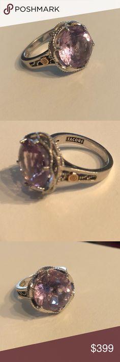 "Tacori 9 Lilac Blossom Crescent Amethyst SR12301 Design Details Metal Shown: Silver with an 18kt Gold Gem Seal Gemstones: Amethyst Gemstone carat weight: 7.85 Design measurements: 0.63"" w x 0.63"" l Tacori Jewelry Rings"