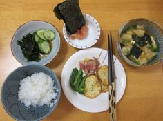 Homemade Japanese breakfast. Hjemmelavet japansk morgenmad