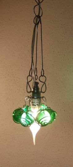 Simply GREEN hanging lamp, glass marbles, Xmas, handmade on Etsy, $97.50