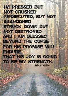 2 Corinthians 4:8 His promise will endure...His joy will be my strength.