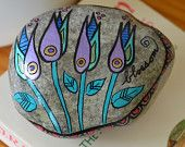 Blossom painted rock paper weight