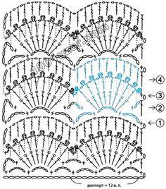 Crochet Thread Patterns, Crochet Stitches Chart, Crochet Borders, Crochet Motif, Crochet Blocks, Rubrics, Hand Fan, Needlework, Diagram