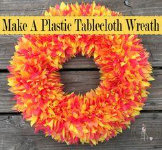 Make A Plastic Tablecloth Wreath, Make a beautiful wreath out of plastic tablecloths with this easy step-by-step tutorial! Deco Mesh Wreaths, Holiday Wreaths, Door Wreaths, Burlap Wreaths, Ribbon Wreaths, Winter Wreaths, Floral Wreaths, Spring Wreaths, Plastic Tablecloth Decorations