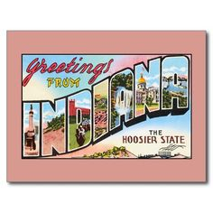 Vintage greetings from Indiana Postcards, greeting cards, large magnets
