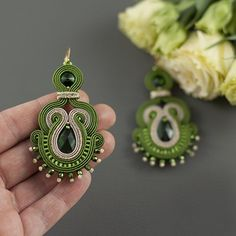 Jewelry Design Earrings, Beaded Earrings, Jewellery, Handmade Beaded Jewelry, Earrings Handmade, Soutache Tutorial, Soutache Necklace, Polymer Clay Charms, Fabric Jewelry