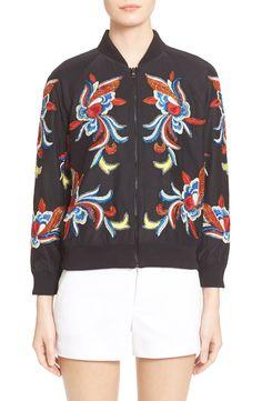 Alice + Olivia 'Felisa' Embellished Silk Bomber Jacket