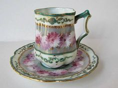 Antique tea cup and saucer Antique Tea Cups, Vintage Cups, Vintage Tea, Vintage China, Cup And Saucer Set, Tea Cup Saucer, Teapots And Cups, Teacups, Cuppa Tea