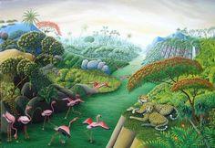 peaceful conditions in Paradise on Earth Catherine MUSNIER Art Caribéen, Art Tropical, Art Et Nature, Henri Rousseau, Caribbean Art, Paradise On Earth, Naive Art, Canadian Artists, Art Studies