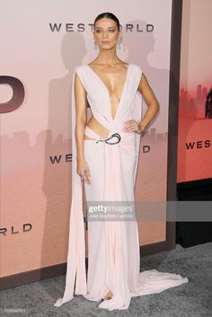 Angela Sarafyan stuns in revealing Grecian-style gown at Hollywood premiere for Westworld season 3 Westworld Season 3, Bride And Prejudice, Angela Sarafyan, Spring Fashion, Autumn Fashion, Rebecca Ferguson, Red Carpet Gowns, Pink Dress, Nice Dresses