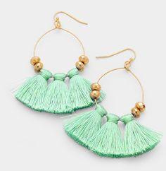 Designer Inspired Mint, Blue, Red Or Black Pom Pom & Tassel Bold Earrings #Unbranded #DropDangle
