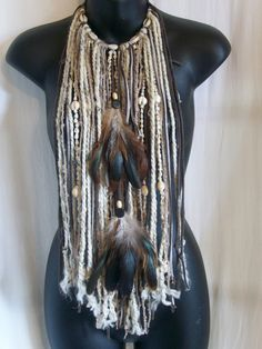 Tribal necklace, necklace scarf, Burning man, festival clothing, accessory, costume, feather neckpiece, indian, wearable art, hippie, boho by LamaLuz on Etsy https://www.etsy.com/listing/202638133/tribal-necklace-necklace-scarf-burning