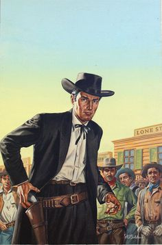 West of Abilene - Corgi paperback cover art (Original) (Signed) art by Stephen Richard Boldero