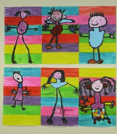 Striped background and human figure - Painting & Drawing Baby Painting, Painting For Kids, Figure Painting, Painting & Drawing, Kindergarten Art, Preschool Crafts, Portrait Picasso, Drawing For Kids, Art For Kids