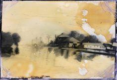 Demiak. The Great Mississippi Flood, 1927 oil and lacquer on MDF  20 x 30 cm.  http://www.demiak.nl