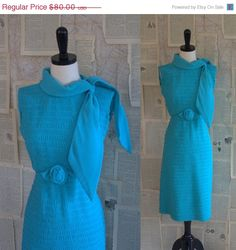 1960s Turquoise Cocktail Dress with Rosette and Neck Bow $64.00