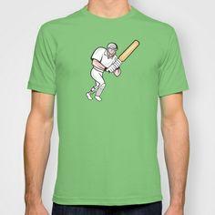 Cricket Player Batsman Batting Cartoon T-shirt