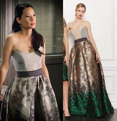 Elementary Season 2, episode 13: Joan Watson's (Lucy Liu) Carolina Herrera ombre, floral-print ball gown #elementary #joanwatson