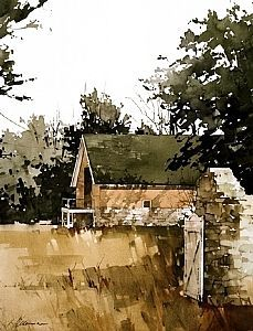 "2003, Beyond The Gate by Joseph Alleman Watercolor ~ 14.5"" x 11"""