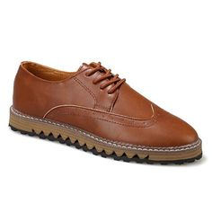 British Style Lacing and PU Leather Design Men's Formal Shoes