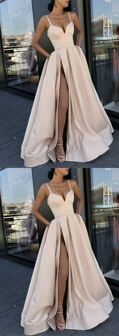 Ball Gown V Neck Spaghetti Straps Side Split Champagne Long Prom Dresses with Pockets, Bridesmaid Dresses