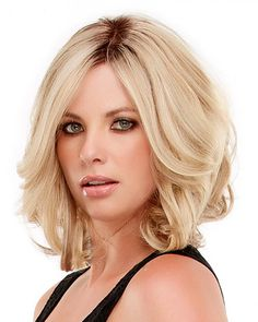 Female Hair Short Blonde Wavy Wig for Women Ombre Blonde Hair Fashion Synthetic Hair Wigs for Women Perruque Peruca Femmes Ombre Blond, Blonde Wig, Gold Blonde, Platinum Blonde, Frontal Hairstyles, Wig Hairstyles, Hairstyles For Round Faces, Pretty Hairstyles, Layered Hairstyles