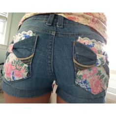 DIY cutoff shorts with floral, lace, and bow pockets! (: Photo by suzanne__noelle