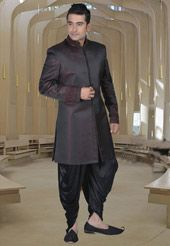 Wine and Black Pure silk Readymade Indowestern Suit